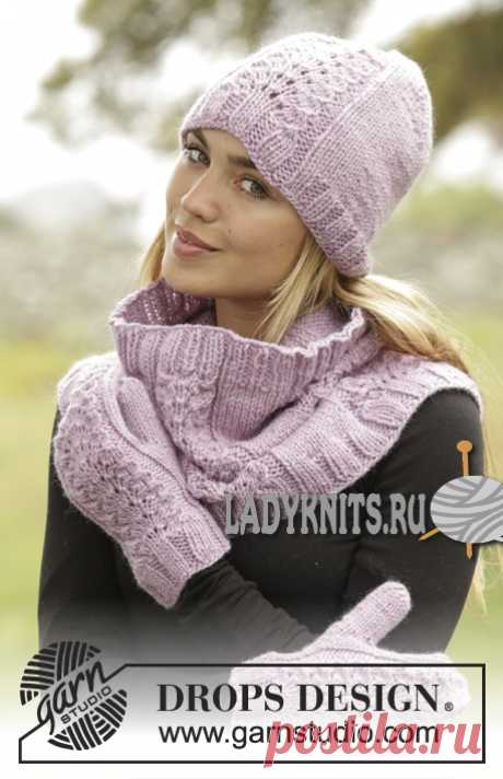 """Knitted spokes cap, mittens and collar """"Малин"""""""