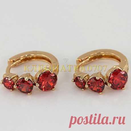 Сережки с рубинами, покрыты золотом
