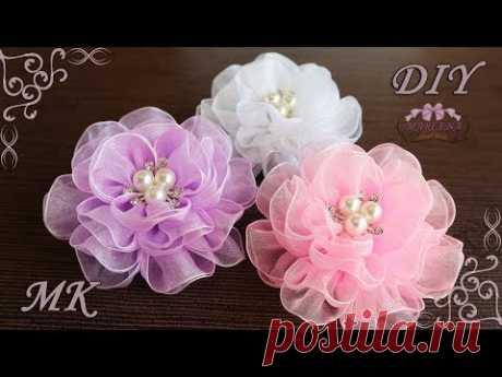 🌺 Воздушные цветы из органзы. Organza Bows DIY - YouTube
