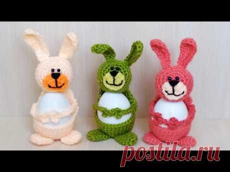 "Подставка для пасхального яйца ""Зайчик"" крючком, Crochet egg holder, Crochet Easter egg"