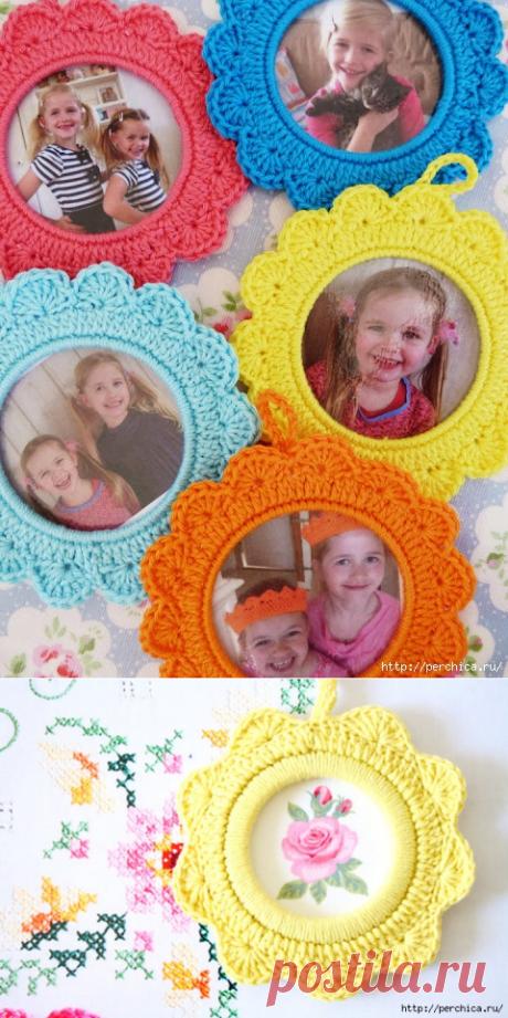 Как связать круглую рамку для детских фото