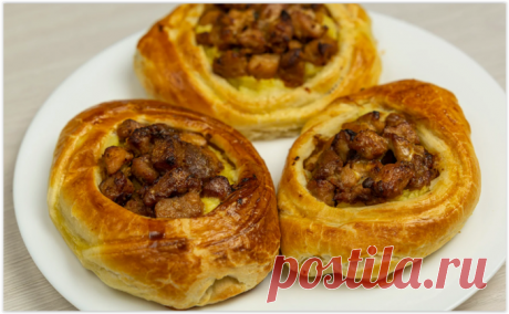 Мясные корзиночки из слоеного теста - вкусное горячее блюдо к праздничному столу!