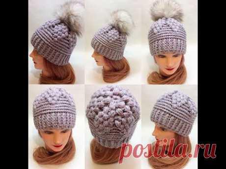 Шапочка крючком с макушкой из пышных столбиков/crochet cap