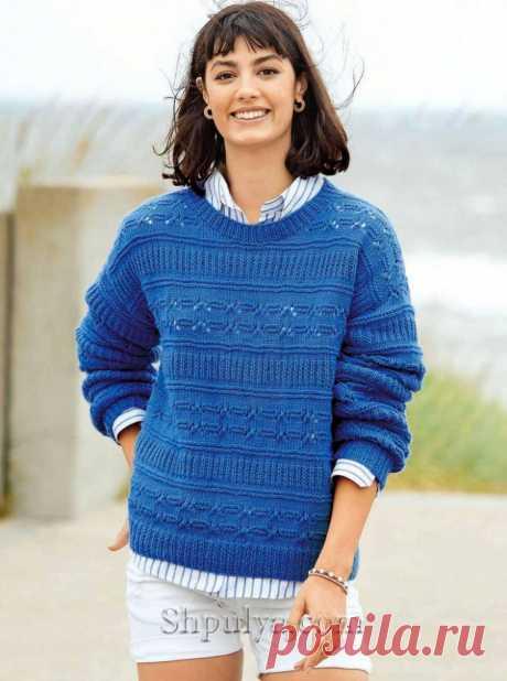 Синий пуловер с узором из разных полос — Shpulya.com - схемы с описанием для вязания спицами и крючком