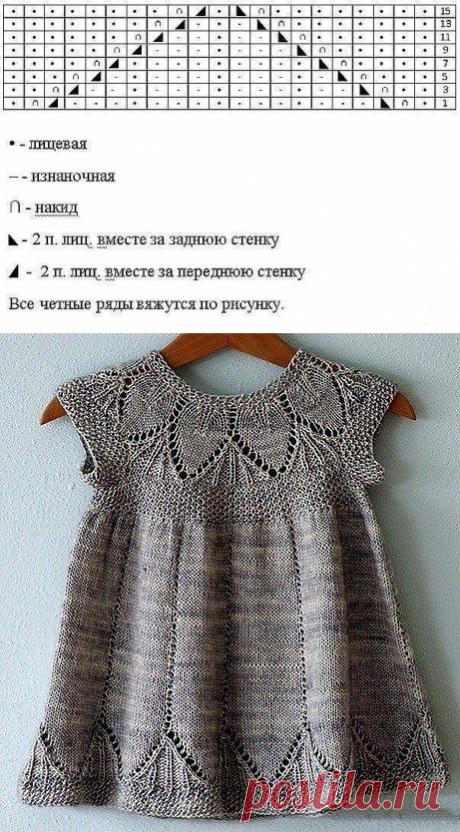 Милое платье спицами для маленькой модницы
