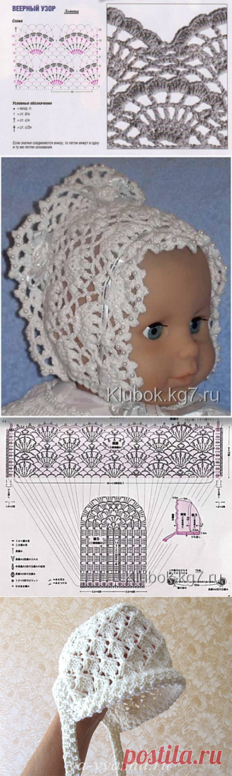 Пошаговое вязание чепчика крючком для новорожденных