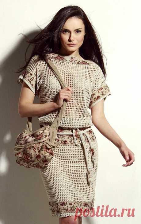 Ткань+пряжа. Комбинируем шитье и вязание. | Наташка | Яндекс Дзен
