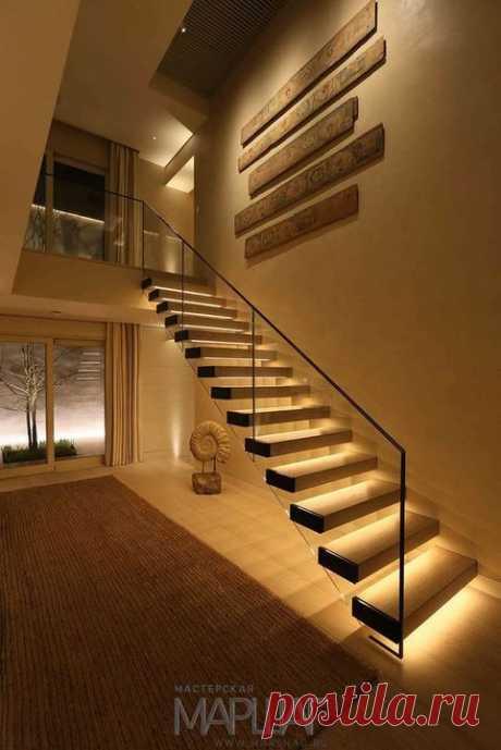 Лестницы, ограждения, перила из стекла, дерева, металла Маршаг – Лестницы консольные с подсветкой