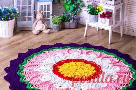 Коврик, связанный из полиэфирного шнура | lacemats вязаные ковры | Яндекс Дзен