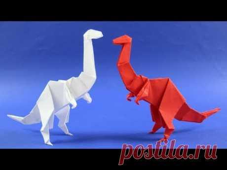 Как сделать динозавра из бумаги. Оригами динозавр из бумаги - Орнитомим