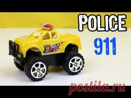 Yellow Police Monster Truck video for kids. Pickup Toy unboxing. Toy vehicles - YouTube