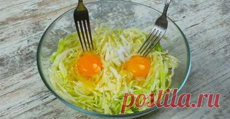 Капуста и 2 яйца вкусный ужин из простых ингредиентов. Так капусту вы еще не готовили