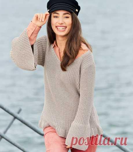 Пуловер с воланами - схема вязания спицами. Вяжем Пуловеры на Verena.ru