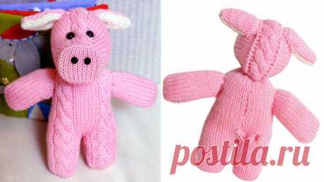 Розовый поросенок. Вязанаяигрушка Розовый поросенок. Вязаная игрушка спицами. Схема и текстовое руководство