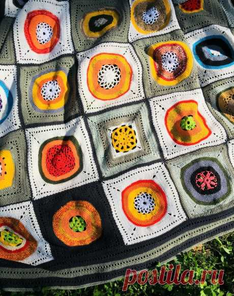 Самоизоляция: вяжем плед из остатков пряжи и образцов | ШирМа | Яндекс Дзен