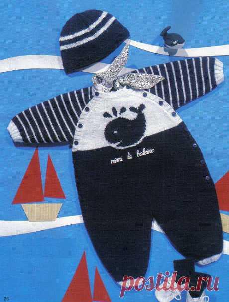 Вязаный спицами детский комбинезон с китом. Схемы и описание на русском - Мамины ручки