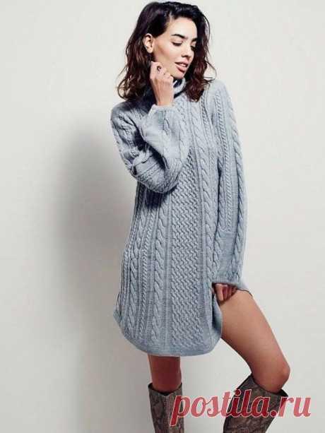 Стильное теплое вязаное платье (Вязание спицами) – Журнал Вдохновение Рукодельницы