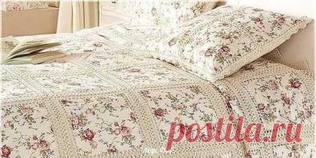 Сочетание текстиля и вязаного полотна - получается красивый плед! из категории Интересные идеи – Вязаные идеи, идеи для вязания