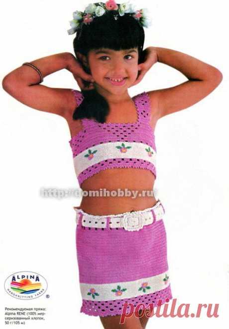 Вязаные топ и юбочка для девочки