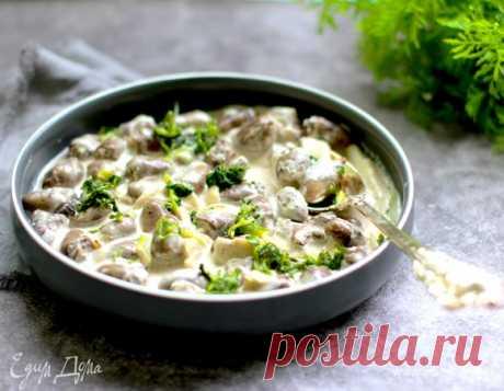 Сердечки куриные с шампиньонами в сметанном соусе, пошаговый рецепт на 1603 ккал, фото, ингредиенты - daiquiri