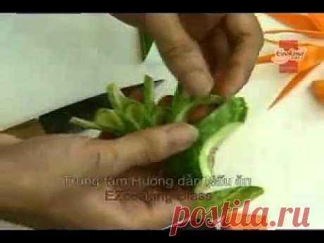 ▶ Карвинг по огурцу и моркови - YouTube