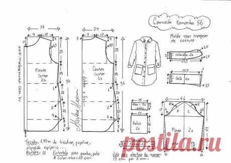 Выкройка платья-рубашки  на размеры от 36 до 56 (евро)