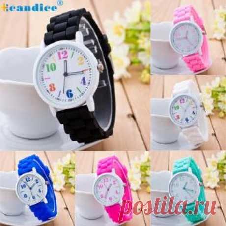 Недорогие, разноцветные женские наручные часы с силиконовым ремешком