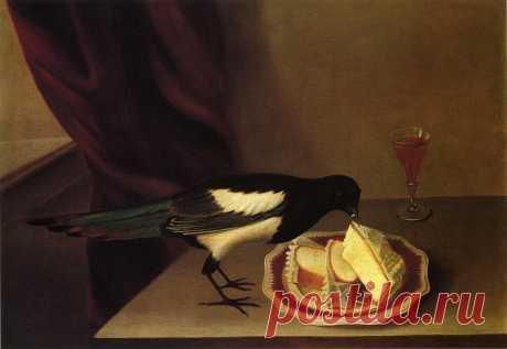 Жрущая торт сорока.  Художник / Rubens Peale.