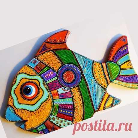 Как сделать красивую декоративную рыбу из картона