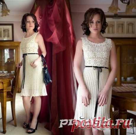 Платье крючком - изящество белого в стиле Шанель