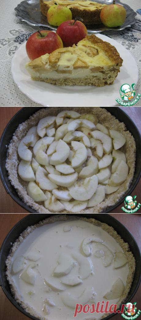Dietético ovsyanyy el pastel con las manzanas en zalivke