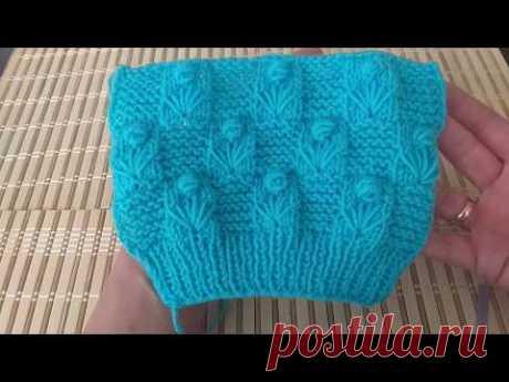 Цветок с платочным вязанием. Вязание спицами.