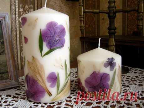 Декорирование свечей сухоцветами.