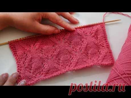 Ажурный симметричный узор спицами 🌹 Eyelet symmetrical knitting pattern