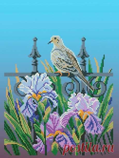 Схема для вышивки бисером Цветы «Зупа»™ «Горлица в саду» (A3) 30x40 (ЧВ-5112(10)) Схемы вышивки бисером - это специальная ткань с рисунком для вышивания бисером. Схема для вышивания нанесена на ткань в виде цветных обозначений поверх изображения. В состав входят рисунок на ткани и инструкция по вышиванию. Бисер в состав не входит.