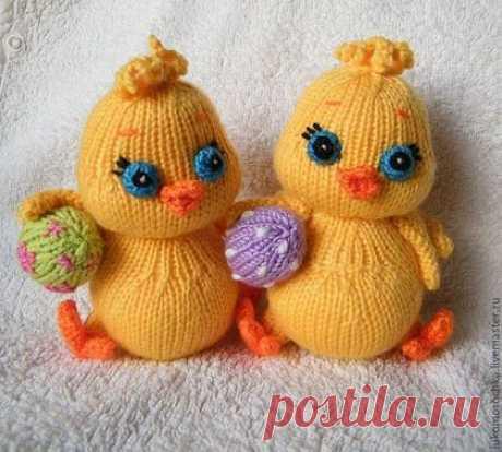 Купить МК Цыплёнок с яйцом (спицы) - желтый, МК, описание, вязаная игрушка, спицы, цыпленок