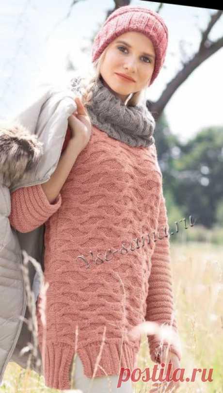 Пуловер, шарф-петля и шапка