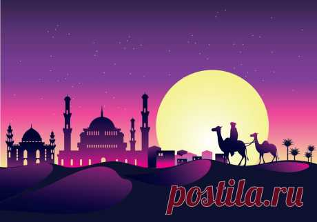 vector-illustration-caravan-with-camels-at-night-with-mosque-and-arabian-sky-at-night.jpg (1400×980)