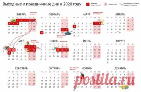 Через 5 дней Новый год - 2020. Время отдыхать) Сегодня мы хотим поделиться с вами календарем выходных в будущем году.