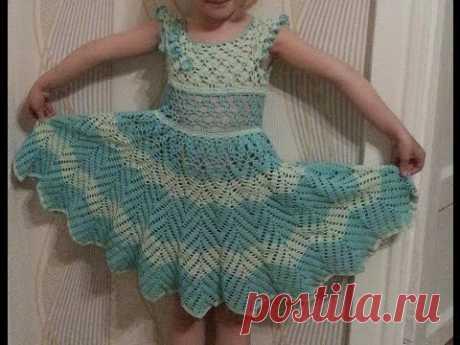 """Вязанное платье """" Нежность"""" Часть 2(Knitted dress for girl)"""