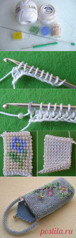 Тунисское вязание с бисером от Натальи Шютц