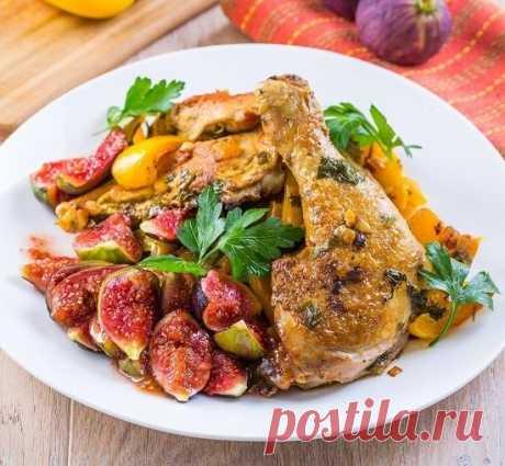 Курица в вине со сладким перцем и инжиром: пошаговый рецепт с фото