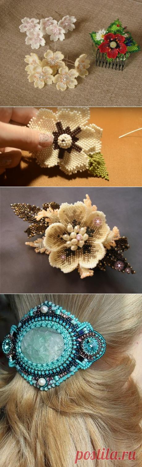 Мастер-класс плетения оригинальных заколок из бисера