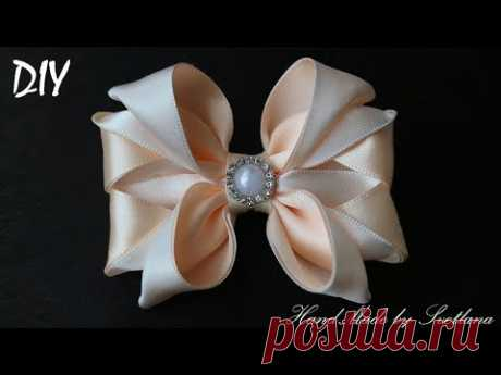 Бантики из лент  КАНЗАШИ DIY Bows made of ribbon Kanzashi Laço de Cetim Curva da fita 6