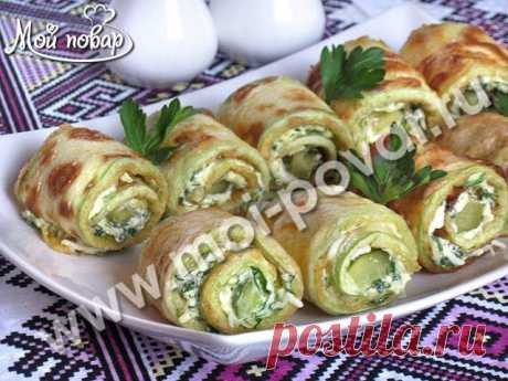 Rolls from vegetable marrows with cheese and greens - the culinary recipe.