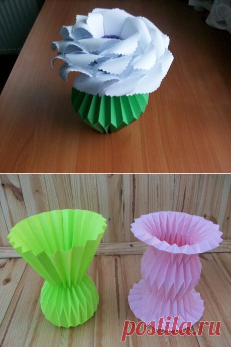 Небанальные вазочки из бумаги, которые мало кто знает, как делать. Подробные мастер-классы