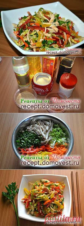 Азиатский салат Оливье – Корейская закуска из курицы и овощей.