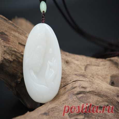 White Hetian Jade Pendan-Guanyin Buddha Pendant-Charm Amulet | Etsy