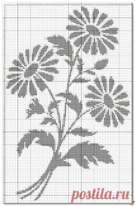 Филейное вязание цветов