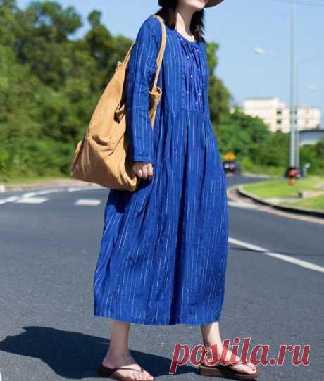 Womens Striped Dress linen Maxi dress linen kaftan | Etsy